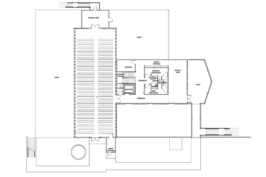 Vennebu Hill wedding barn and event venue in Wisconsin Dells - upper level floor plan with seating plan for 350 person wedding