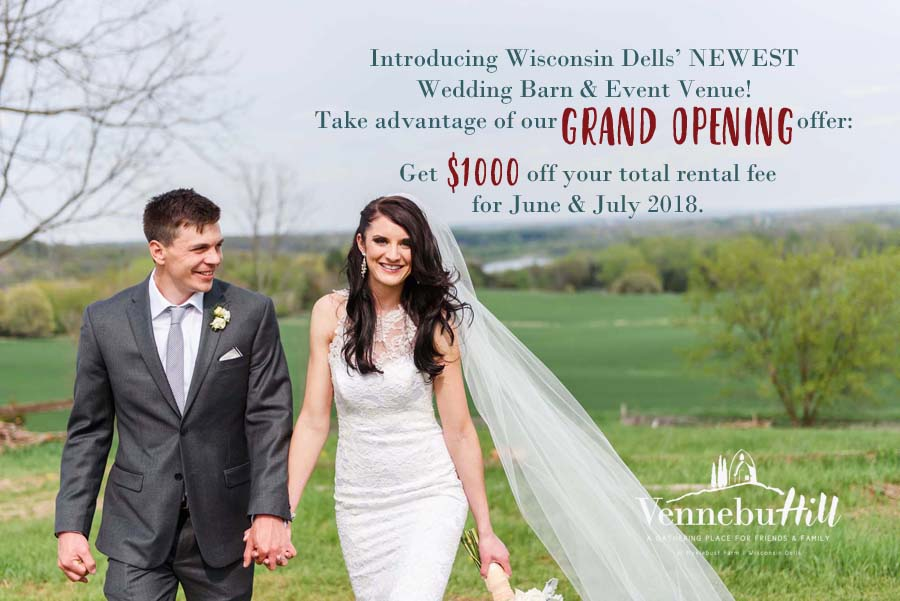 Take Advantage of Vennebu Hill's Grand Opening Wedding Packages