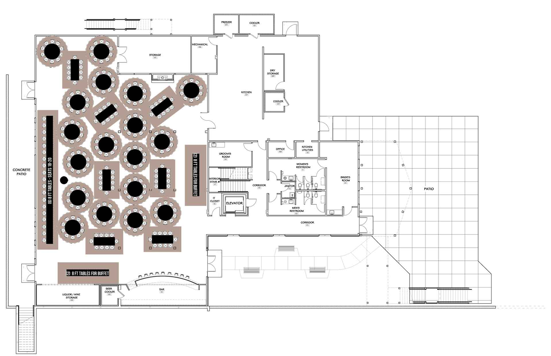 FLOOR PLAN WITH TABLES - 260 MAX with 2 indoor buffet lines ...