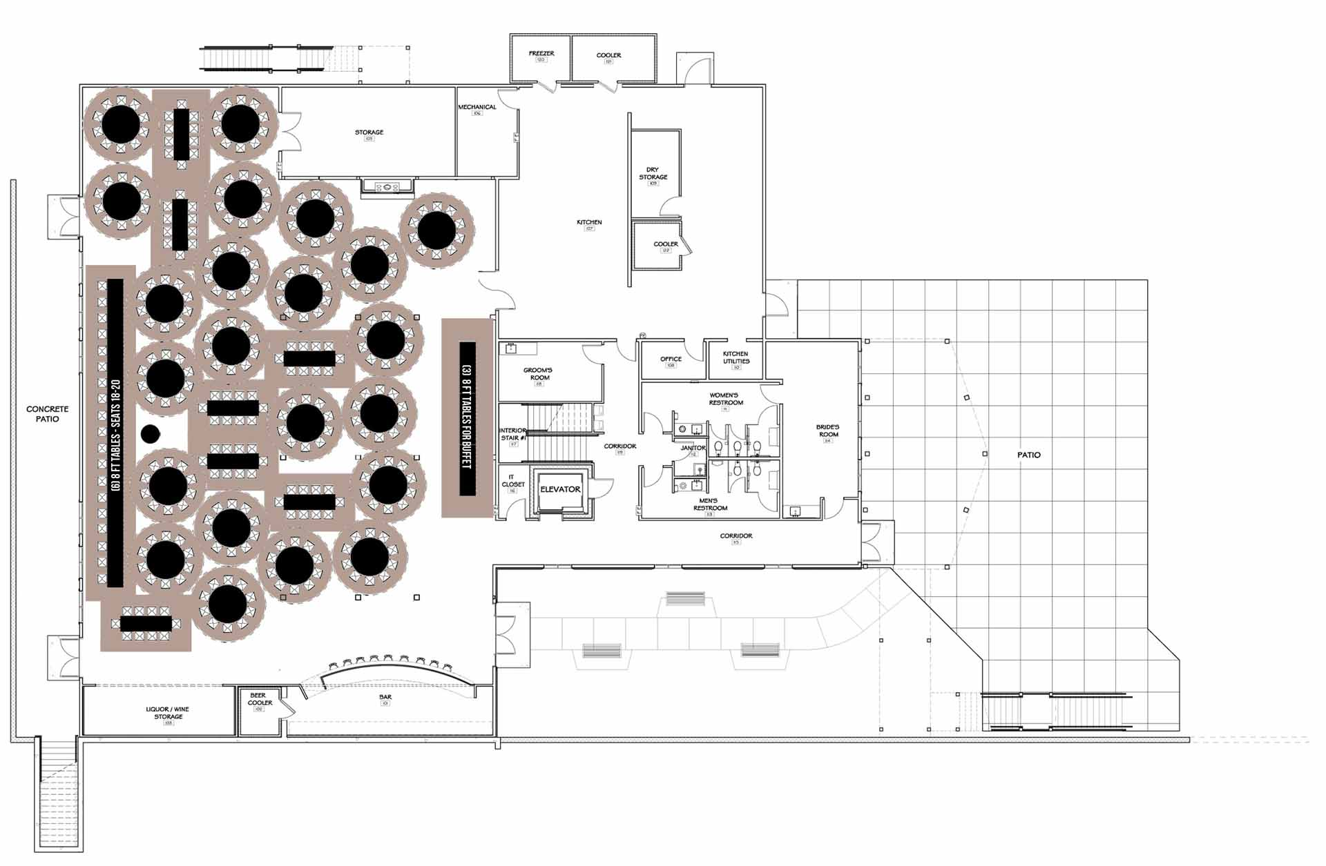 Floor Plan With Tables 300 With Indoor Buffet Exit Bar Kitchen