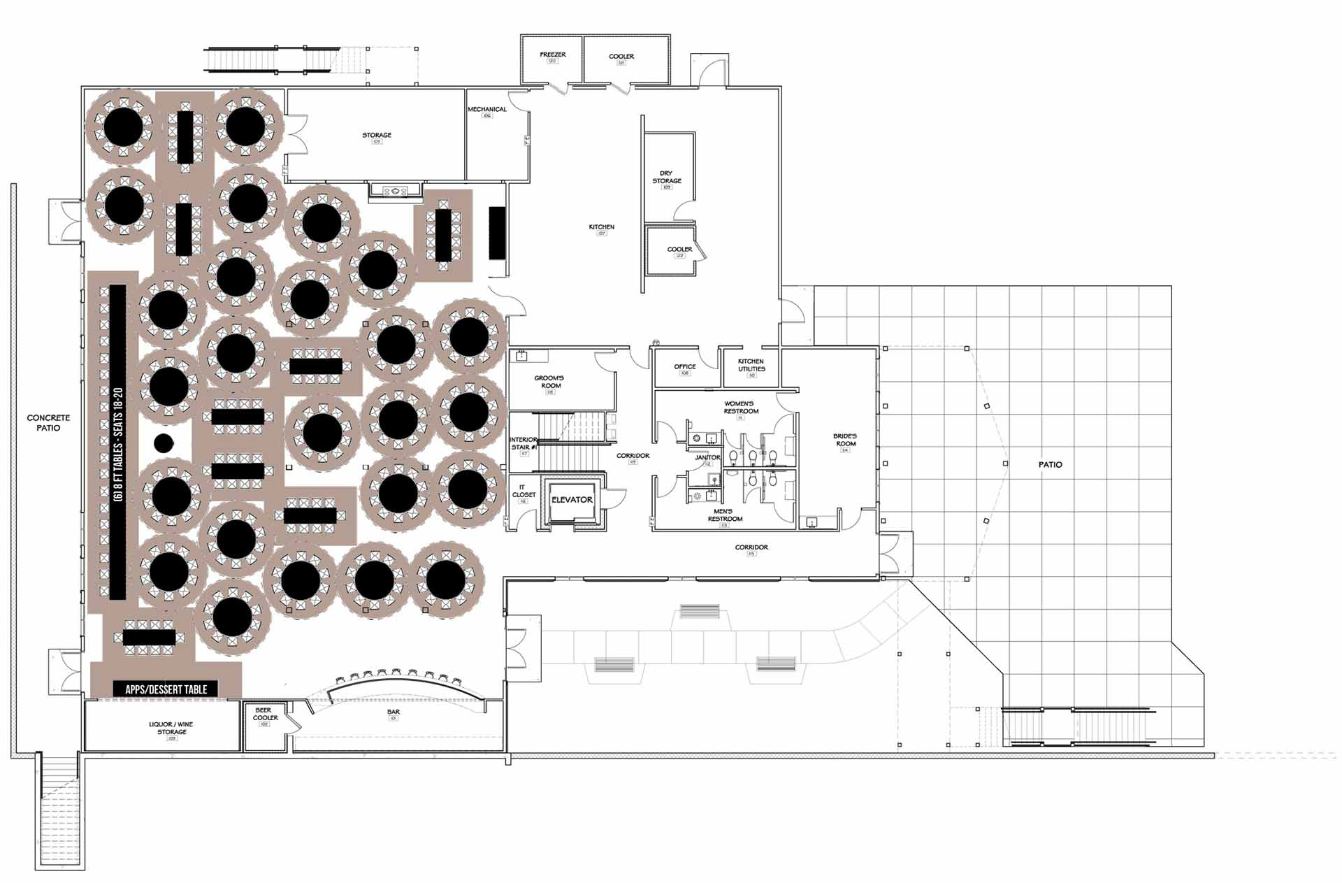 Floor Plan With Tables 350 Max With Bar Exit Kitchen Space And