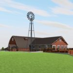 SE perspective rendering of Vennebu Hill wedding and event barn in Wisconsin Dells