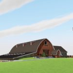 SW perspective rendering of Vennebu Hill wedding and event barn in Wisconsin Dells