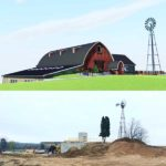 Side by side comparison- Construction image of Vennebu Hill Wisconsin Wedding Venue to be completed Late Spring 2018