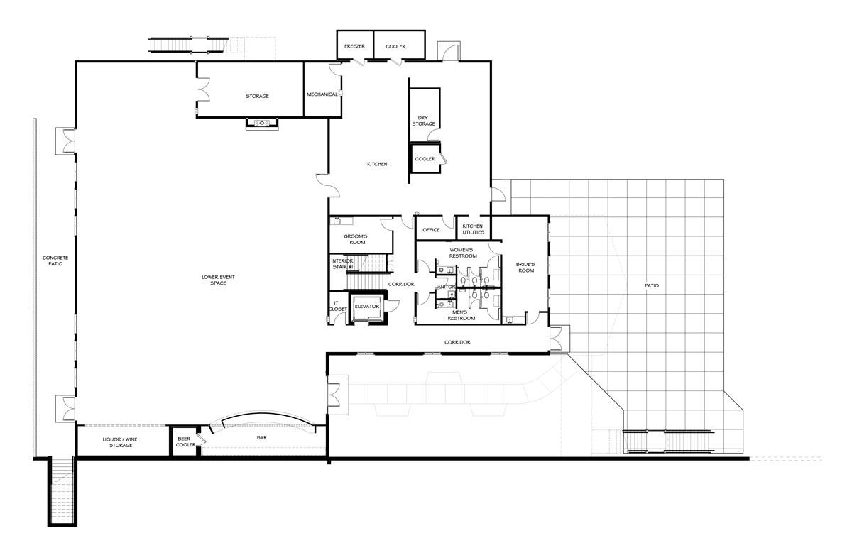 Vennebu Hill wedding barn and event venue in Wisconsin Dells - lower level floor plan