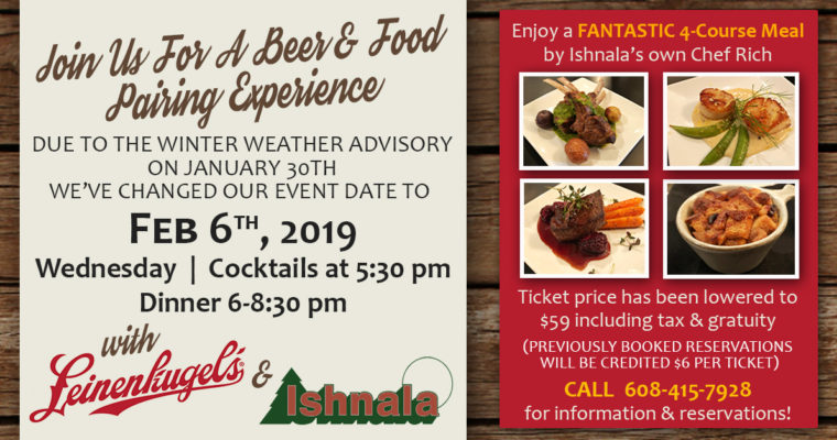 Leinenkugel Beer & Ishnala Food Pairing – DATE CHANGED TO FEBRUARY 6TH DUE TO EXTREME COLD