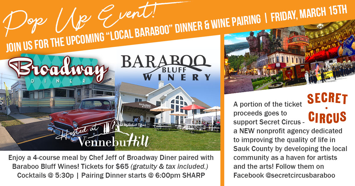 """""""Local Baraboo Flavor"""" Pop-Up Dinner Pairing Event 