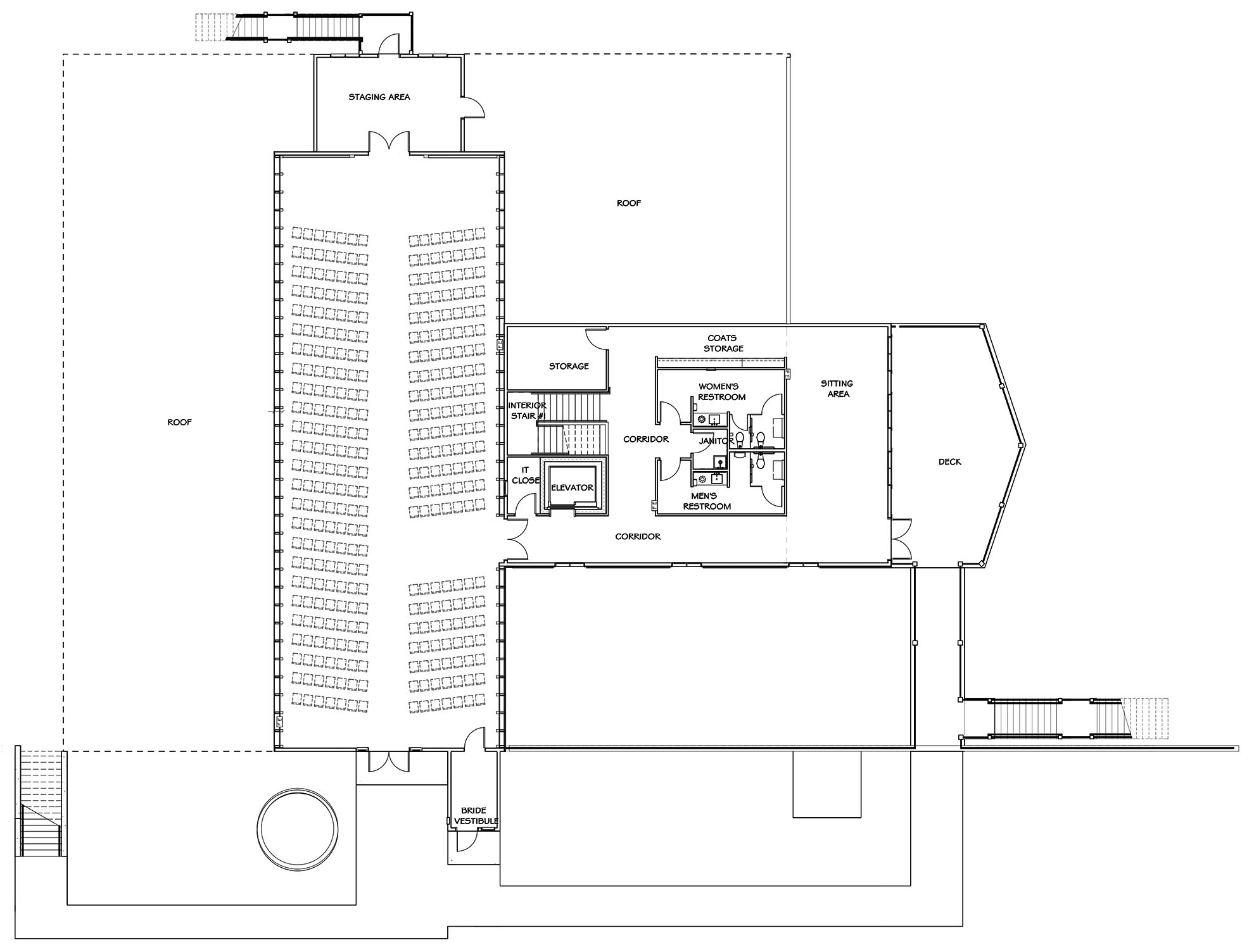 Vennebu Hill wedding barn and event venue in Wisconsin Dells - upper level floor plan with seating plan for 335 person wedding