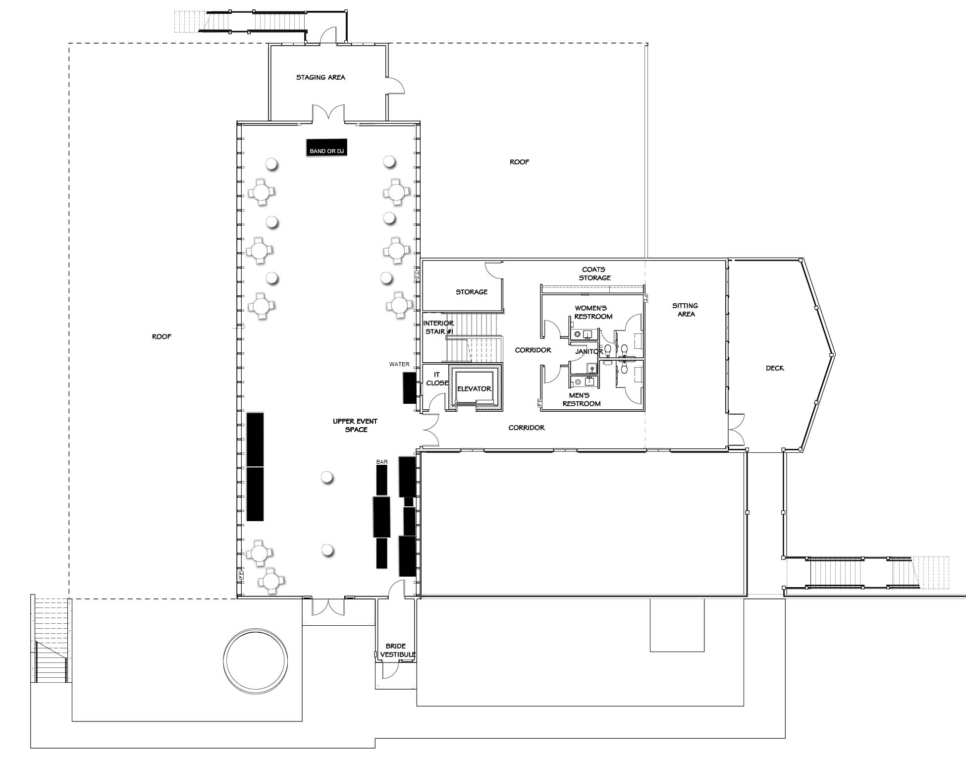 Vennebu Hill wedding barn and event venue in Wisconsin Dells - upper level floor plan with party plan with cocktail seating