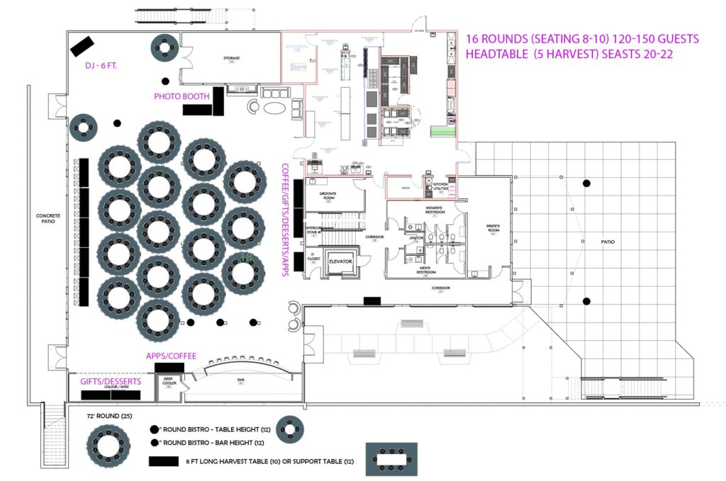 Custom floor plans and layouts for events at Vennebu Hill